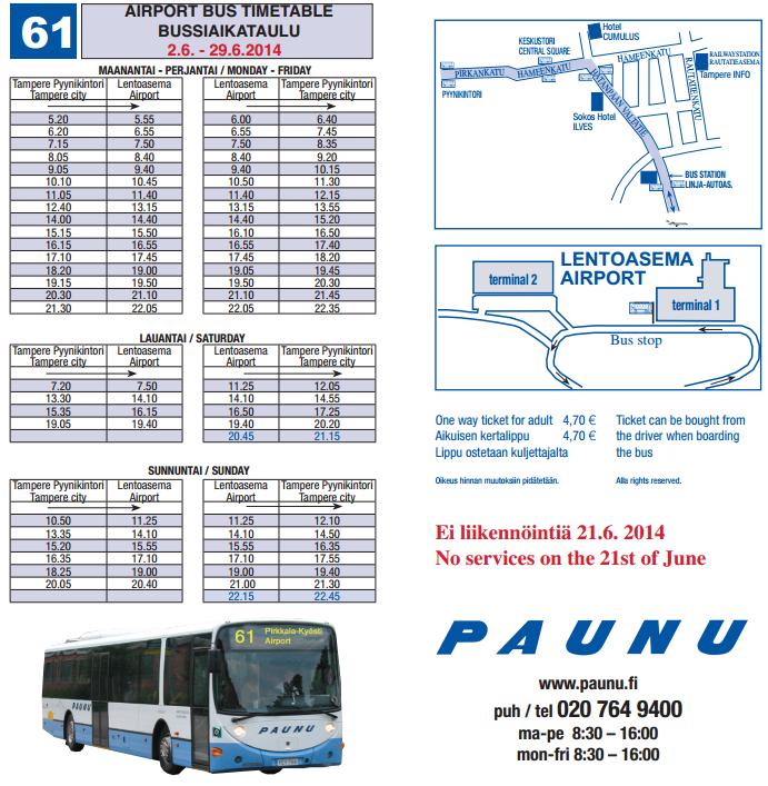расписание автобуса в аэропорт тампере